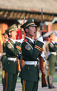 """Chinese solderis are drilled in Beijing. The Chinese military buildup, which has attracted increasingly nervous comments in Washington over the past year, has been reported to be of """"concern"""" to the Bush administration....."""
