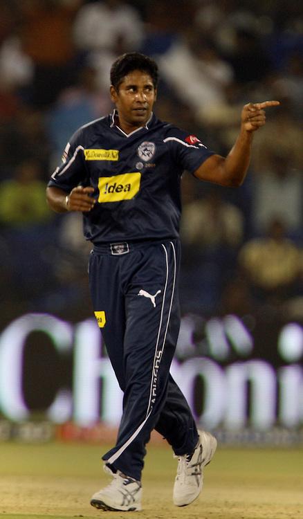 Deccan Chargers Bowler CHaminda Vaas Celebrates After Taking Kings XI Punjab Captain Kumar Sangakara Wicket During The DLF IPL-3 Twenty-20 Played at- Barabati Stadium , Cuttack 19 March 2010 Day/night