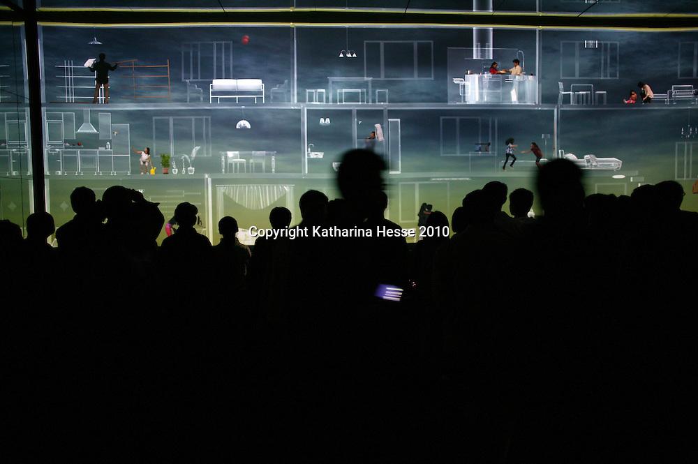 SHANGHAI, MAY-9,2010 : visitors inside the China Pavillion .