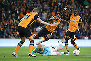 Derby County midfielder Will Hughes (19) is fouled by Hull City midfielder Moses Odubajo (2)  during the Sky Bet Championship play-off 2nd leg match between Hull City and Derby County at the KC Stadium, Kingston upon Hull, England on 17 May 2016. Photo by Simon Davies.