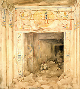 Ruined interior of the Temple at Esneh (Esne), Upper Egypt. Watercolour by Hector Horeau (1801-1872) French Architect.  Ancient Eyptian Archaeology