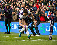 EDINBURGH, SCOTLAND - FEBRUARY 11: Scotland wing, Sean Maitland, crosses the line to score his side's opening try during the NatWest Six Nations match between Scotland and France at Murrayfield on February 11, 2018 in Edinburgh, Scotland. (Photo by MB Media/Getty Images)
