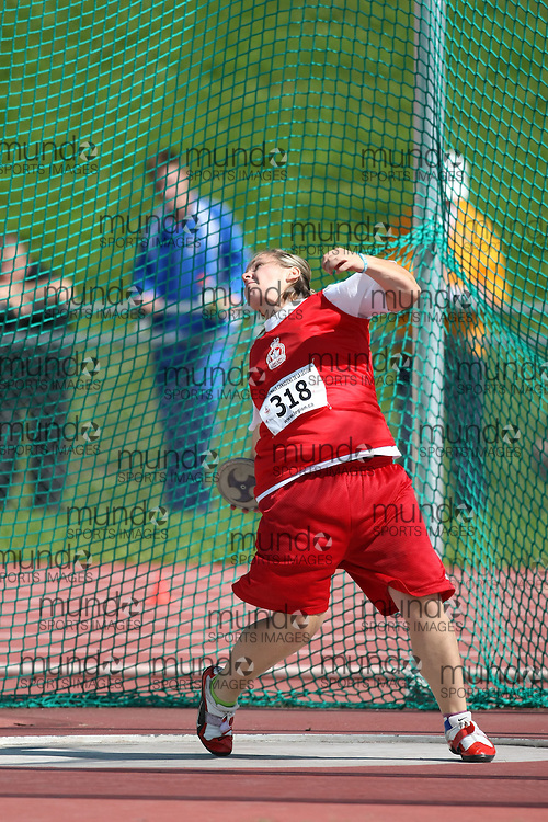 (Sherbrooke, Quebec---10 August 2008) Jessica Pilling competing in the discus at the 2008 Canadian National Youth and Royal Canadian Legion Track and Field Championships in Sherbrooke, Quebec. The photograph is copyright Sean Burges/Mundo Sport Images, 2008. More information can be found at www.msievents.com.