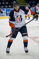 KELOWNA, CANADA - AUGUST 30:  Kamloops Blazers prospect #34 Deven Sideroff warms up against the Kelowna Rockets  on August 30, 2014 during pre-season at Prospera Place in Kelowna, British Columbia, Canada.   (Photo by Marissa Baecker/Shoot the Breeze)  *** Local Caption *** Deven Sideroff;