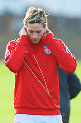 LIVERPOOL, ENGLAND - Tuesday, December 8, 2009: Liverpool's Fernando Torres during a training session at Melwood ahead of the UEFA Champions League Group E match against AFC Fiorentina. (Pic by David Rawcliffe/Propaganda)