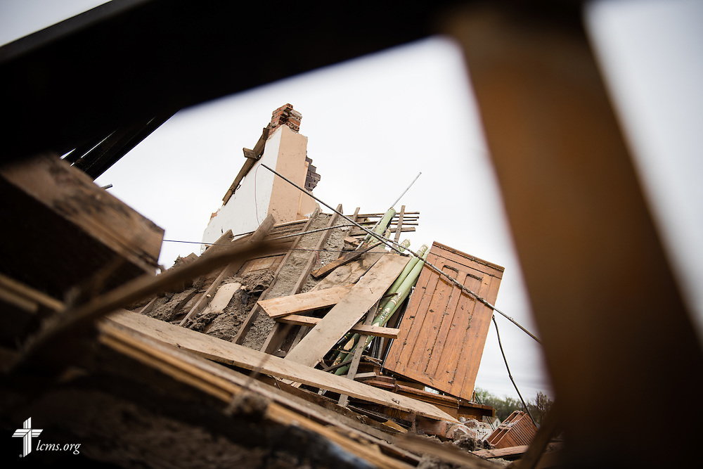 The organ of Zion Lutheran Church lies in rubble on Monday, May 11, 2015, in Delmont, S.D. A tornado swept through the area the previous day and destroyed the church and nearby buildings. LCMS Communications/Erik M. Lunsford