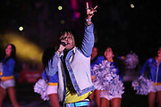 Recording artist Swae Lee performs during halftime of an NFL football game between the Los Angeles Rams and Seattle Seahawks, Sunday, Dec. 8, 2019, in Los Angeles, Calif. (Peter Klein/Image of Sport)