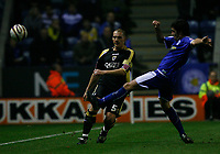 Photo: Steve Bond.<br />Leicester City v Cardiff City. Coca Cola Championship. 26/11/2007. Darren Purse clears under pressure