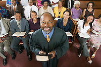 Preacher and Congregation portrait high angle view