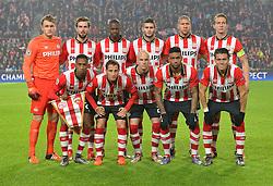 08-12-2015 NED: UEFA CL PSV - CSKA Moskou, Eindhoven<br /> PSV wint met 2-1 en plaatst zich voor de volgende ronde in de CL / (Top Row L-R) goalkeeper Jeroen Zoet of PSV, Davy Propper of PSV, Nicolas Isimat-Mirin of PSV, Gaston Pereiro of PSV, Jeffrey Bruma of PSV, Luuk de Jong of PSV (Front row L-R) Joshua Brenet of PSV, Andres Guardado of PSV, Jorrit Hendrix of PSV, Jurgen Locadia of PSV, Hector Moreno of PSV