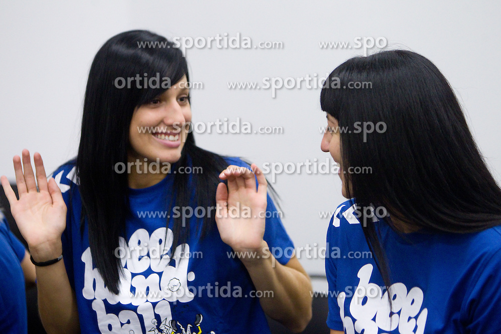 Alja Koren and Maja Son at press conference of handball club RK Krim Mercator before new season 2011/2012, on July 28, 2011, in SRC Stozice, Ljubljana, Slovenia. (Photo by Vid Ponikvar / Sportida)