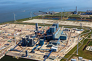 Nederland, Groningen, Eemshaven, 01-05-2013; RWE-kolencentrale in aanbouw. De Energiecentrale Eemshaven van Essent zal werken op  poederkool en biomassa.  Eemscentrale van Electrabel in de achtergrond...RWE's coal power plant under construction. Essent's Power Plant Eemshaven (under construction) will operate on pulverized coal and biomass. .luchtfoto (toeslag op standard tarieven).aerial photo (additional fee required).copyright foto/photo Siebe Swart