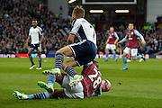 Charles N'Zogbia with a challenge on James Morrison during the The FA Cup match between Aston Villa and West Bromwich Albion at Villa Park, Birmingham, England on 7 March 2015. Photo by Adam Rivers.