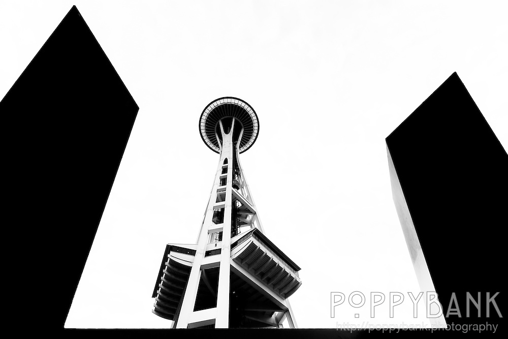 A silhouette of the Space Needle in Seattle, Washington