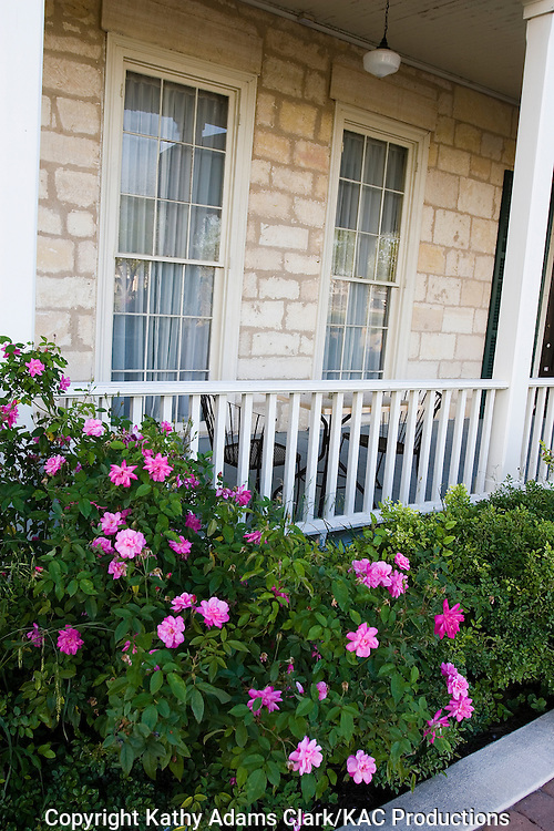 Roses grow near the porch of the Ye Kendall Inn, in downtown Boerne, Texas.