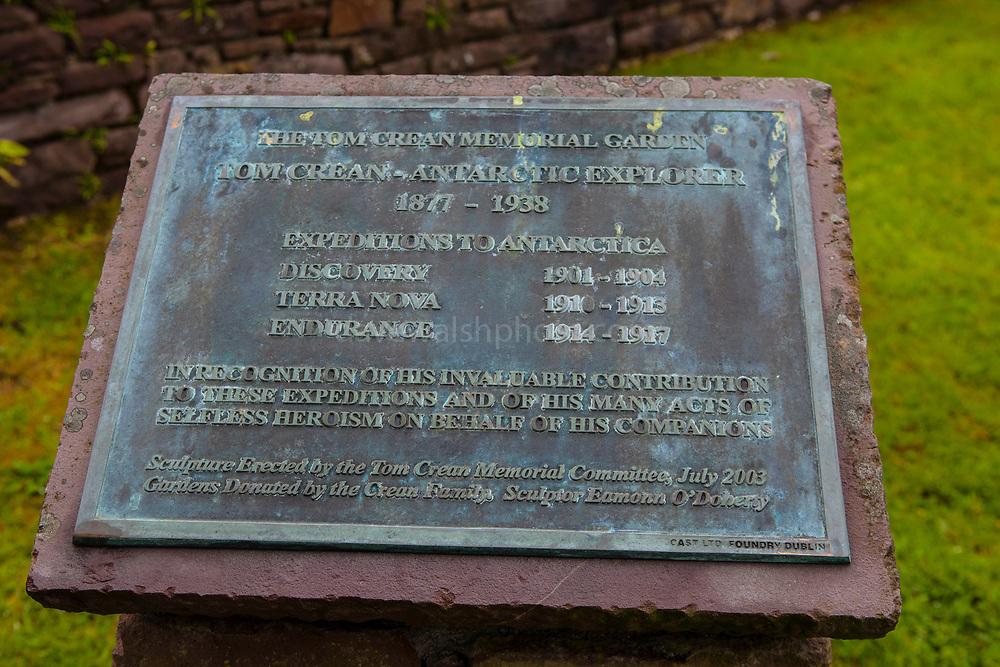 Plaque marking the exploits of Irish polar explorer Tom Crean Memorial Garden, Annascaul, Dingle Peninsula, Co. Kerry, Ireland