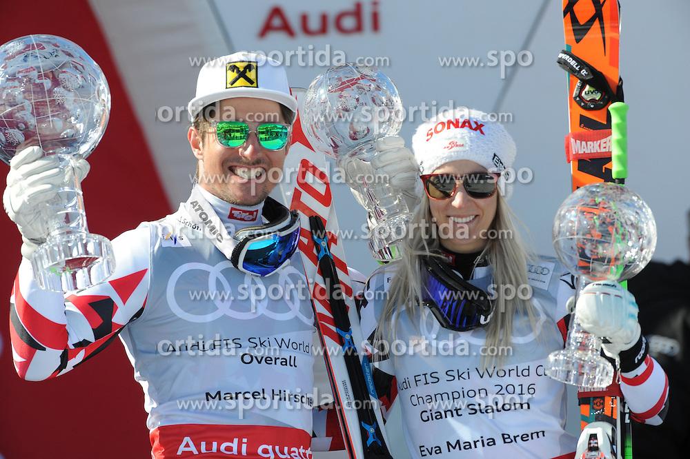 20.03.2016, Engiadina, St. Moritz, SUI, FIS Weltcup Ski Alpin, St. Moritz, Weltcup Siegerehrung, im Bild Marcel Hirscher (AUT) Gesamtweltcup Sieger und RS WC Sieger Eva Maria Brem (AUT) Gewinner RS WC // Marcel Hirscher of Austria (Winner Overall WC and Winner Giant Slalom WC)Eva Maria Brem of Austria Winner of RS WC during Alpine World Cup award winner ceremony of St. Moritz Ski Alpine World Cup finals at the Engiadina in St. Moritz, Switzerland on 2016/03/20. EXPA Pictures © 2016, PhotoCredit: EXPA/ Erich Spiess
