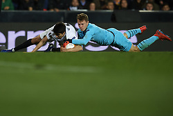 March 7, 2019 - Valencia, Valencia, Spain - Carlos Soler of Valencia and Matvei Safonov of Krasnodar battle for the ball during the UEFA Europa League Round of 16 First Leg match between Valencia v Krasnodar  at Estadi de Mestalla on March 7, 2019 in Valencia, Spain. (Credit Image: © Jose Breton/NurPhoto via ZUMA Press)