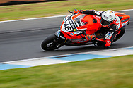 Mike Jones (46) riding for Desmosport Ducati in Q1 during round 6 of the Australian Superbike Championship on October 05, 2019 at Phillip Island Circuit, Victoria. (Image Dave Hewison/ Speed Media)