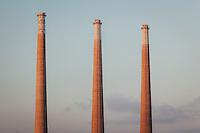 Power Plant Smokestacks at Sunset, Morro Bay, California
