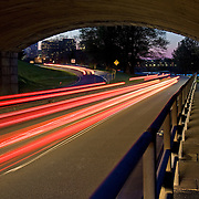 Dusk descends on Arlington, Virginia and the nation's capital as seen from under the Arlington Memorial Bridge.