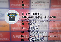 Team Tibco &ndash; Silicon Valley Bank sign the Signature Board ahead of The Prudential RideLondon Classique. Saturday 28th July 2018<br /> <br /> Photo: Bob Martin for Prudential RideLondon<br /> <br /> Prudential RideLondon is the world's greatest festival of cycling, involving 100,000+ cyclists - from Olympic champions to a free family fun ride - riding in events over closed roads in London and Surrey over the weekend of 28th and 29th July 2018<br /> <br /> See www.PrudentialRideLondon.co.uk for more.<br /> <br /> For further information: media@londonmarathonevents.co.uk