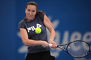 Brisbane, Australia, December 30: Jelena Jankovic of Serbia backhand shot during a training session at Pat Rafter Arena ahead of the 2012 Brisbane International Tennis Tournament in Brisbane, Australia on Friday December 30th, 2011. (Photo: Matt Roberts/Photo News)