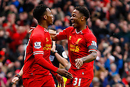 Daniel Sturridge of Liverpool celebrates scoring his first goal of the game with Raheem Sterling of Liverpool during the Barclays Premier League match at Anfield, Liverpool<br /> Picture by David Horn/Focus Images Ltd +44 7545 970036<br /> 08/02/2014