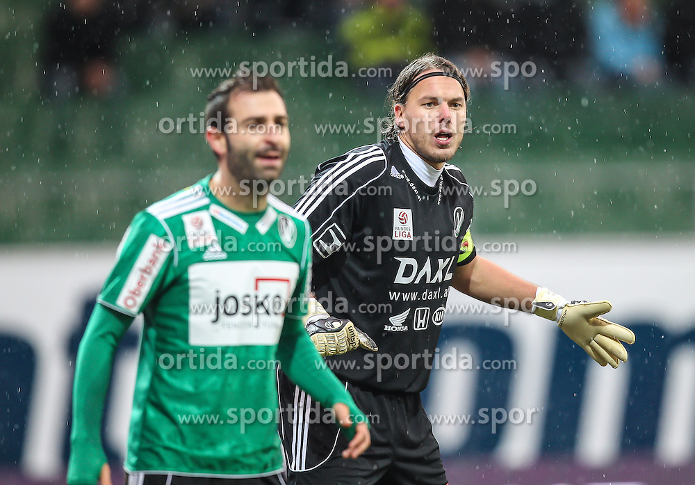 27.10.2012, Keine Sorgen Arena, Ried im Innkreis,  AUT, 1.FBL, SV Josko Ried vs SC Wiener Neustadt, 13. Runde, im Bild Ignacio Rodriguez-Ortiz, (SV Josko Ried, #11) und Thomas Gebauer, (SV Josko Ried, #1) // during Austrian Football Bundesliga Match, 13th round, between SV Josko Ried and SC Wiener Neustadt at the Keine Sorgen Arena, Ried im Innkreis, Austria on 2012/10/27. EXPA Pictures © 2012, PhotoCredit: EXPA/ Roland Hackl