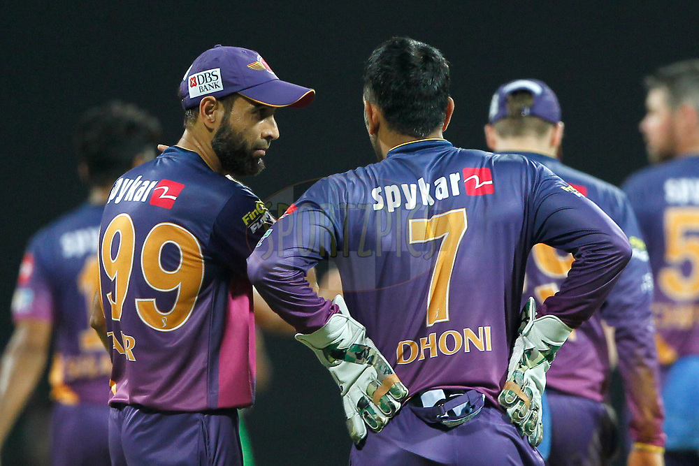 Imran Tahir of Rising Pune Supergiant talks with MS Dhoni of Rising Pune Supergiant during match 28 of the Vivo 2017 Indian Premier League between the Mumbai Indians and the Rising Pune Supergiant held at the Wankhede Stadium in Mumbai, India on the 24th April 2017<br /> <br /> Photo by Deepak Malik - Sportzpics - IPL