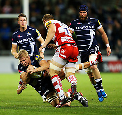 David Seymour of Sale Sharks is tackled - Mandatory by-line: Matt McNulty/JMP - 16/09/2016 - RUGBY - Heywood Road Stadium - Sale, England - Sale Sharks v Gloucester Rugby - Aviva Premiership