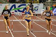 Sage Watson (Canada) winning the Women's 400m Hurdles, Hanne Claes (Belgium), Paulien Couckuyt (Belgium) during the IAAF Diamond League event at the King Baudouin Stadium, Brussels, Belgium on 6 September 2019.