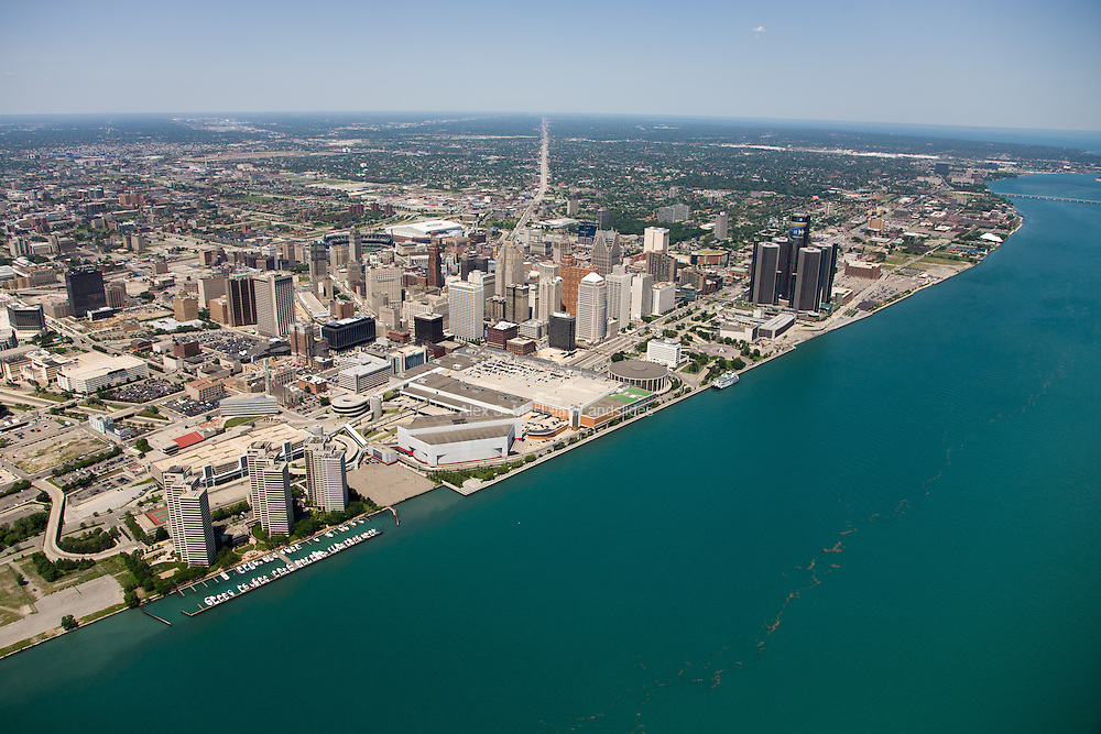 Detroit's urban waterfront (on the Detroit River, with a view northeast up Michigan Highway 3, Gratiot Avenue