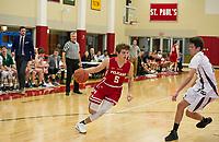 St Paul's School varsity basketball with New Hampton School.  ©2018 Karen Bobotas Photographer