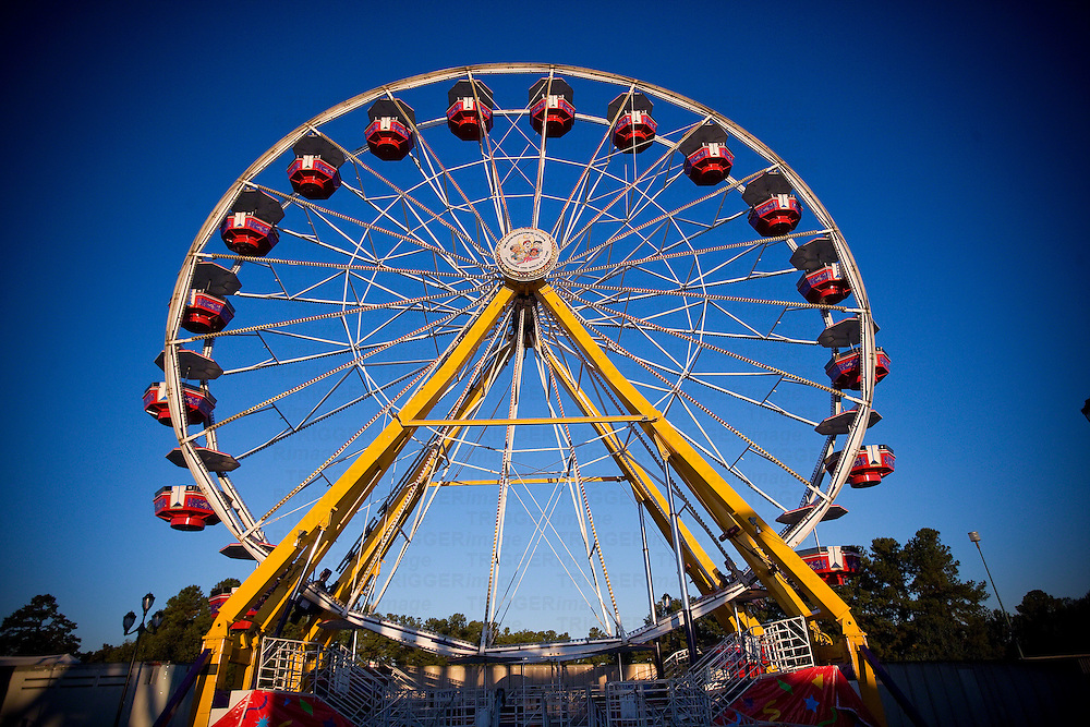 A colorful Ferris Wheel at the North Carolina State Fair in Raleigh, NC.