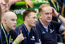 Chris Thomas, Aleksander Sekulic and Bozidar Maljkovic, head coach of Slovenia during friendly match between National teams of Slovenia and Latvia for Eurobasket 2013 on August 2, 2013 in Arena Zlatorog, Celje, Slovenia. Slovenia defeated Latvia 71-67. (Photo by Vid Ponikvar / Sportida.com)