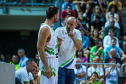 Head coach of Slovenia Jure Zdovc and Sasa Zagorac of Slovenia during friendly basketball match between National teams of Slovenia and Italy at day 3 of Adecco Cup 2015, on August 23 in Koper, Slovenia. Photo by Grega Valancic / Sportida