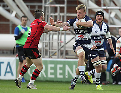 Bristol's Mitch Eadie hands off Jersey's Ryan Glynn - Photo mandatory by-line: Robbie Stephenson/JMP - Mobile: 07966 386802 - 17/04/2015 - SPORT - Rugby - Bristol - Ashton Gate - Bristol Rugby v Jersey - Greene King IPA Championship