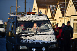 © Licensed to London News Pictures. 13/01/2017. Jaywick, UK. Snowfall on the seafront at Jaywick before Homes are evacuated in Jaywick, Essex  due to the threat of flooding in low-lying areas . Photo credit: Ben Cawthra/LNP