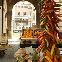 Italian market with chillies in Venice