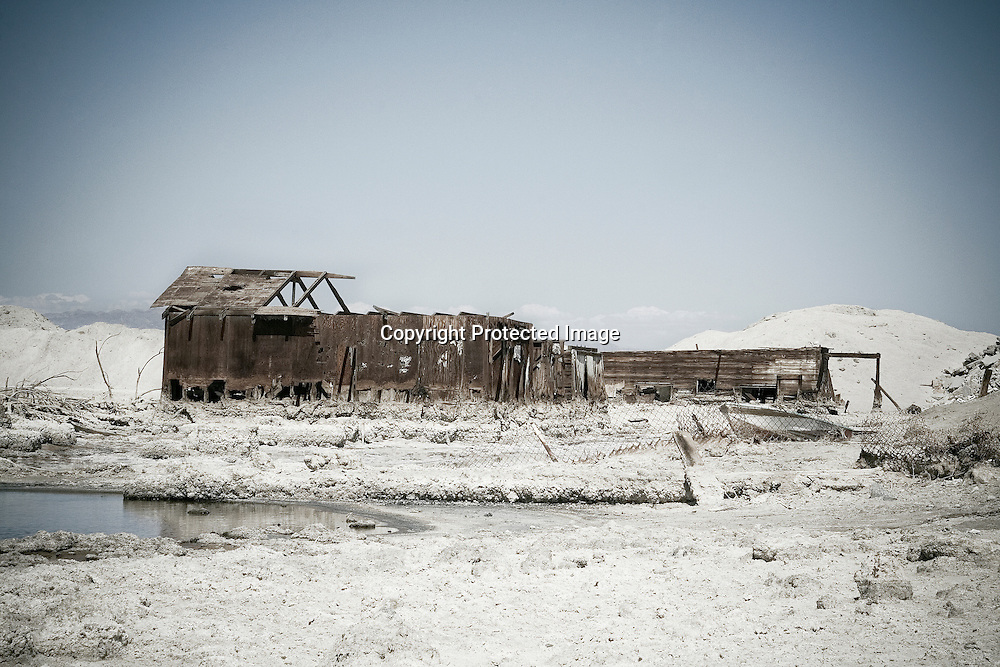 Abandoned salt-encrusted structure at Salton Sea Beach