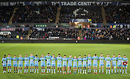 2nd November, Liberty Stadium , Swansea, Wales ; Guinness pro 14's Ospreys Rugby v Glasgow Warriors ;  Glasgow Warriors players pay their respects before the game<br /> <br /> Credit: Simon King/News Images<br /> <br /> Photographer Simon King/Replay Images<br /> <br /> Guinness PRO14 Round 8 - Ospreys v Glasgow Warriors - Friday 2nd November 2018 - Liberty Stadium - Swansea<br /> <br /> World Copyright © Replay Images . All rights reserved. info@replayimages.co.uk - http://replayimages.co.uk