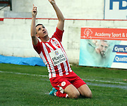 Accrington Stanley midfielder Sean McConville celebrates during the The FA Cup match between Accrington Stanley and York City at the Fraser Eagle Stadium, Accrington, England on 7 November 2015. Photo by Pete Burns.