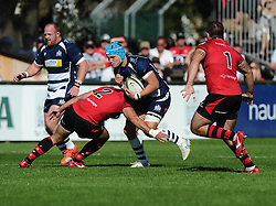 Martin Garcia-Veiga of Jersey Rugby tackles Bristol Rugby Flanker Olly Robinson  - Mandatory byline: Joe Meredith/JMP - 07966386802 - 26/09/2015 - RUGBY - St. Peter -Saint Peter,Jersey - Jersey Rugby v Bristol Rugby - Greene King IPA Championship