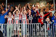 13-05-2016 VOETBAL:ALMERE CITY - WILLEM II:ALMERE<br /> Supporters van Willem II vieren de eerste overwinning<br /> <br /> Foto: Geert van Erven