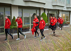 VIENNA, AUSTRIA - Thursday, October 6, 2016: Wales players during a pre-match walk at the Hilton Danube Waterfront Hotel ahead of the 2018 FIFA World Cup Qualifying Group D match against Austria. Paul Dummett, David Edwards, Emyr Huws, Ben Davies, captain Ashley Williams. (Pic by David Rawcliffe/Propaganda)