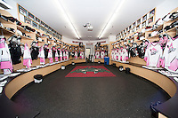 KELOWNA, CANADA - NOVEMBER 8: The Kelowna Rockets dressing room ready for Pink Power Play Night in support of breast cancer research on November 8, 2013 at Prospera Place in Kelowna, British Columbia, Canada.   (Photo by Marissa Baecker/Getty Images)  *** Local Caption ***