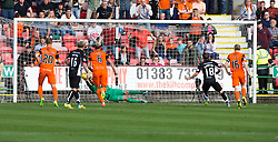 Dundee United's keeper Cammy Bell saves Dunfermline's third penalty taken by Pal McMullan half time : Dunfermline 0 v 1  United, Scottish Championship game played 10/9/2016 at East End Park.