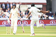 Joe Root (capt) of England is dismissed off the bowling off Hasan Ali of Pakistan on Day One of the NatWest Test Match match at Lord's, London<br /> Picture by Simon Dael/Focus Images Ltd 07866 555979<br /> 24/05/2018
