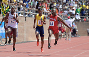 Apr 28, 2018; Philadelphia, PA, USA; Cameron Burrell celebrates after running the anchor leg on the Houston 4 x 100m relay that won the Championship of America race in 38.95 during the 124th Penn Relays at Franklin Field.